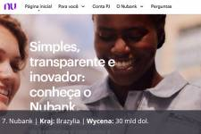Nubank, Kraj: Brazylia, Wycena: 30 mld dol.