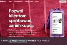 Klarna, Kraj: Szwecja, Wycena: 45,6 mld dol.