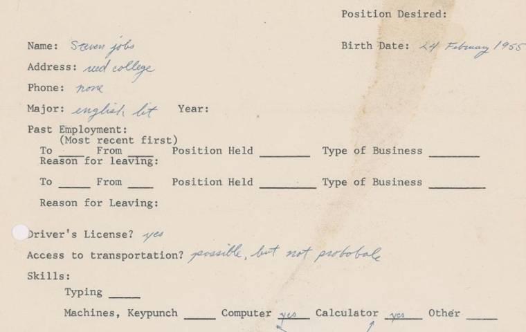 Podanie o pracę Steve'a Jobsa z 1973 trafiło na aukcję jako NFT