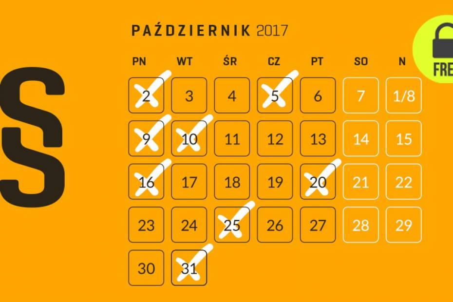 Kalendarium przedsiębiorcy – październik 2017