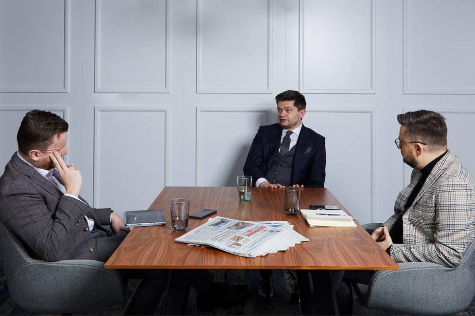 Adam Burak w rozmowie z dziennikarzami My Company