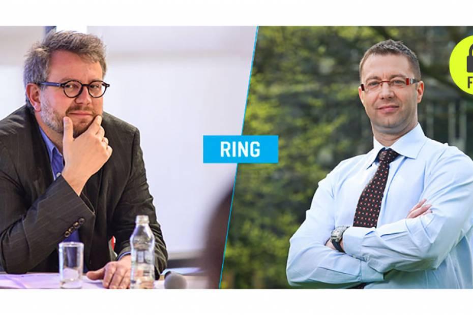Od lewej: Miłosz Marczuk, rzecznik prasowy Polskiej Agencji Rozwoju Przedsiębiorczości i Jarosław Kała, dyrektor Departamentu Instrumentów Inżynierii Finansowej w BGK